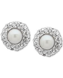 Lauren Ralph Lauren Silver-Tone Imitation Pearl & Crystal Stud Earrings