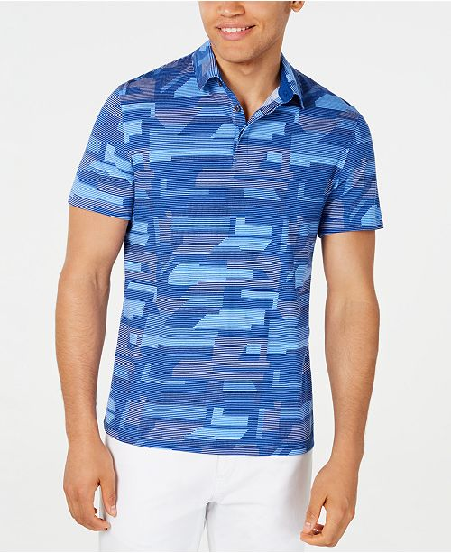 Alfani Men's Geometric Pattern-Print Polo, Created for Macy's