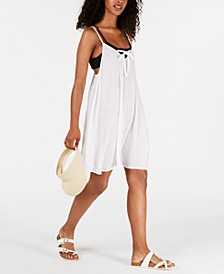Juniors' Lace-Up Cover-Up Dress