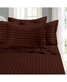 Elegant Comfort 6-Piece Luxury Soft Stripe Bed Sheet Set Full