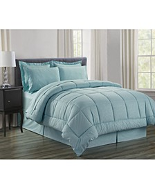 Wrinkle Resistant - Silky Soft Vine Bed-in-a-Bag 8-Piece Comforter Set - Hypoallergenic Full/Queen