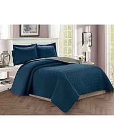 Luxury 3-Piece Bedspread Coverlet Majestic Design Quilted Set with Shams - Full/Queen