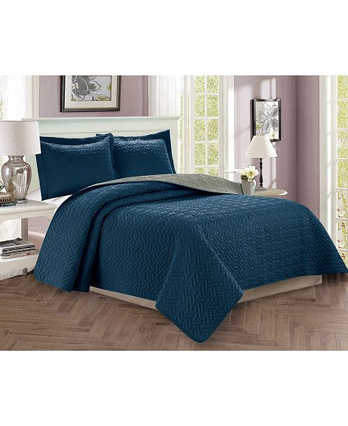 Elegant Comfort Luxury 3-Piece Bedspread Coverlet Majestic Design Quilted Set with Shams - Full/Queen