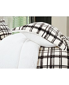 Softest, Coziest Heavy Weight Plaid Pattern Micromink Sherpa - Backing Premium Quality Down Alternative Micro - Suede 3-Piece Reversible Comforter Set, Full/Queen