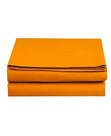 Elegant Comfort Silky Soft Single Flat Sheet Full Elite Orange