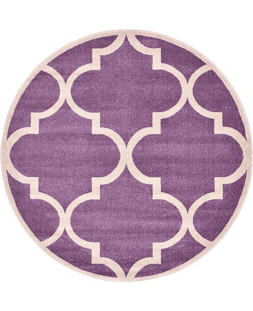 Bridgeport Home Arbor Arb3 Purple 6' x 6' Round Area Rug