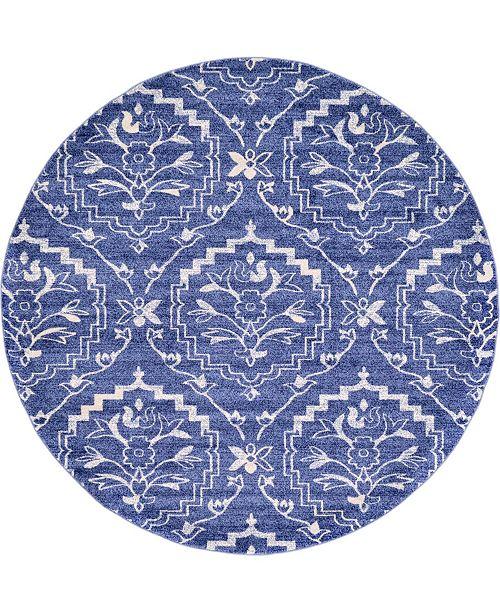 Bridgeport Home Felipe Fel1 Blue 8' x 8' Round Area Rug