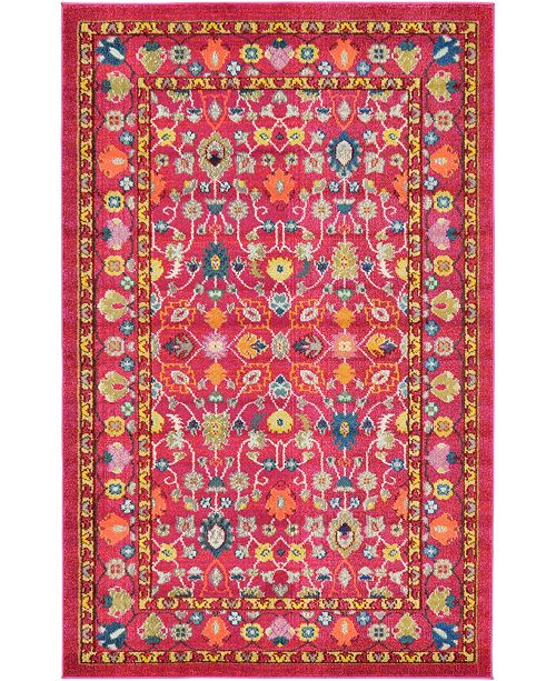 Bridgeport Home Sana San5 Fuchsia 5' x 8' Area Rug