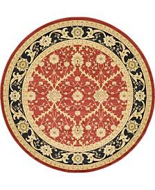 Bridgeport Home Orwyn Orw4 Red 8' x 8' Round Area Rug