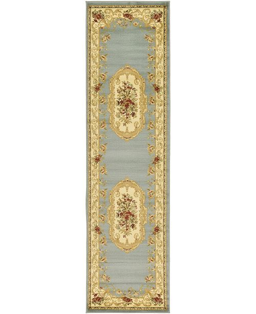 "Bridgeport Home Belvoir Blv3 Light Blue 2' 7"" x 10' Runner Area Rug"
