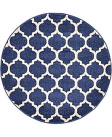 """Arbor Arb1 Dark Blue 3' 3"""" x 3' 3"""" Round Area Rug"""