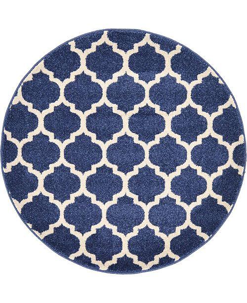 """Bridgeport Home Arbor Arb1 Dark Blue 3' 3"""" x 3' 3"""" Round Area Rug"""