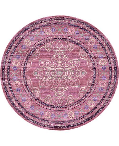 Bridgeport Home Malin Mal2 Pink 6' x 6' Round Area Rug