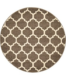 "Arbor Arb1 Light Brown 3' 3"" x 3' 3"" Round Area Rug"