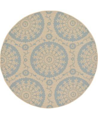Pashio Pas5 Light Blue 6' x 6' Round Area Rug