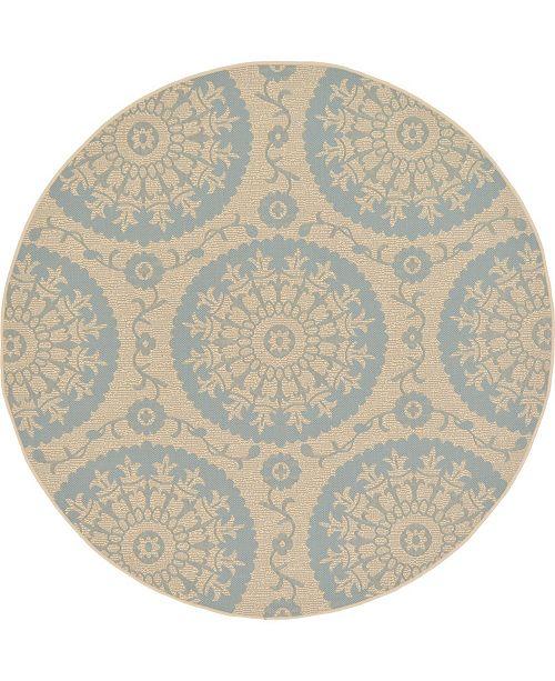 Bridgeport Home Pashio Pas5 Light Blue 6' x 6' Round Area Rug