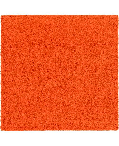 "Bridgeport Home Exact Shag Exs1 Tiger Orange 8' 2"" x 8' 2"" Square Area Rug"