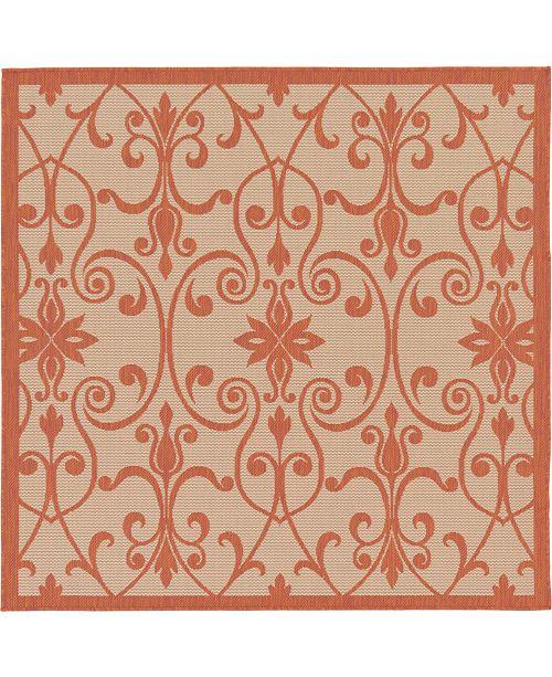 Bridgeport Home Pashio Pas5 Terracotta 6' x 6' Square Area Rug