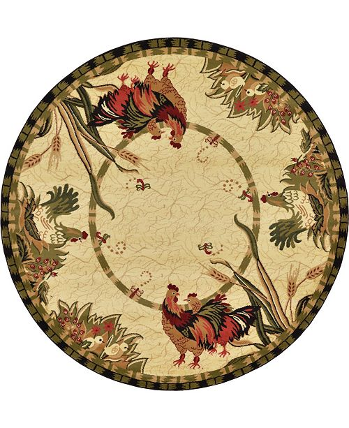 Bridgeport Home Roost Roo1 Ivory 8' x 8' Round Area Rug