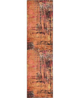 "Newwolf New3 Orange 2' 7"" x 10' Runner Area Rug"
