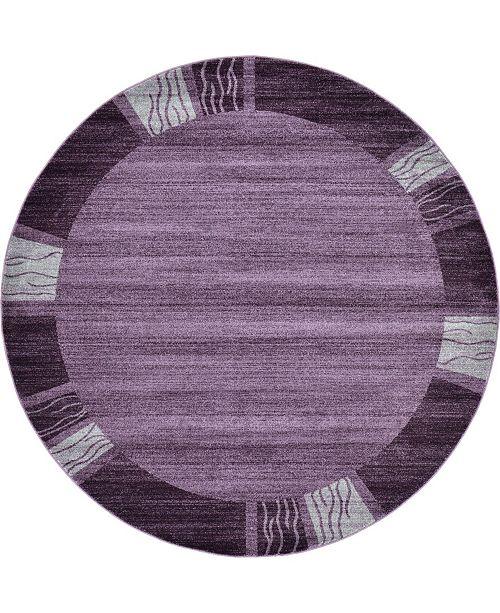 Bridgeport Home Lyon Lyo1 Purple 8' x 8' Round Area Rug