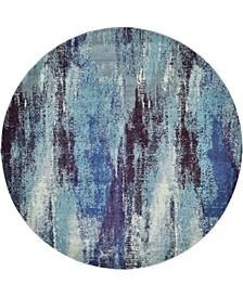 Adah Ada2 Blue 8' x 8' Round Area Rug