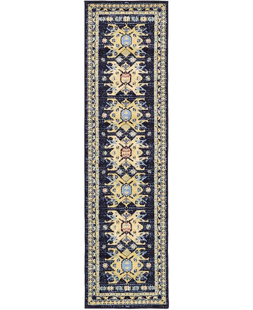 "Bridgeport Home Charvi Chr1 Navy Blue 2' 2"" x 8' 2"" Runner Area Rug"