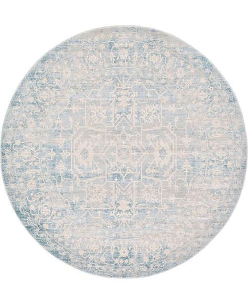 Bridgeport Home Norston Nor1 Blue 6' x 6' Round Area Rug