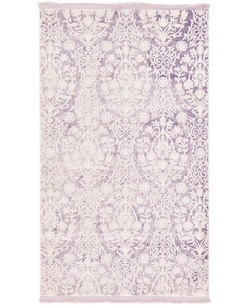 "Bridgeport Home Norston Nor5 Purple 3' 3"" x 5' 3"" Area Rug"