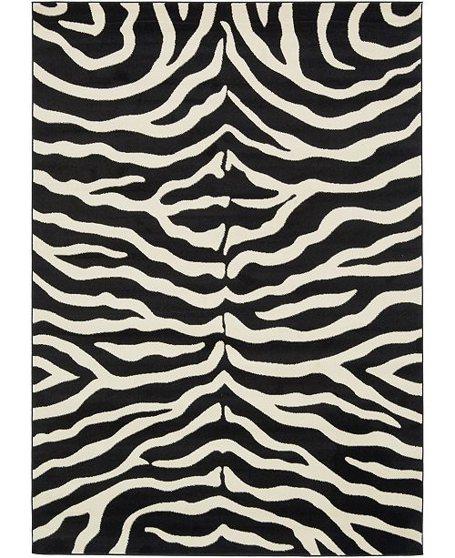 Bridgeport Home Maasai Mss5 Black 7' x 10' Area Rug