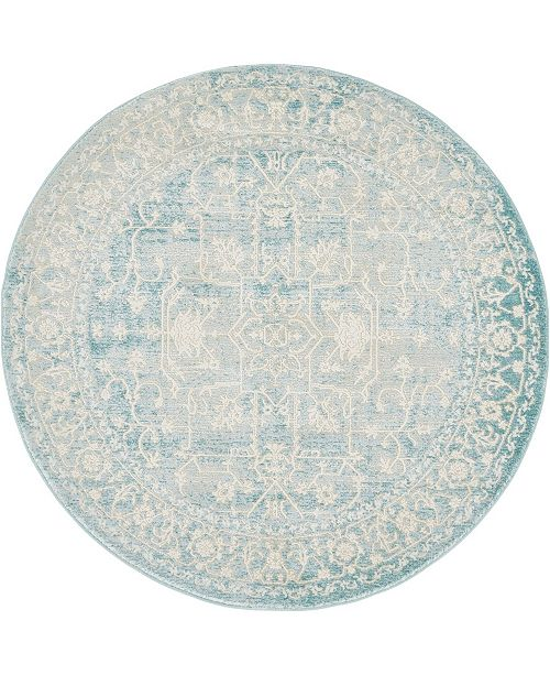 Bridgeport Home Norston Nor1 Blue 4' x 4' Round Area Rug