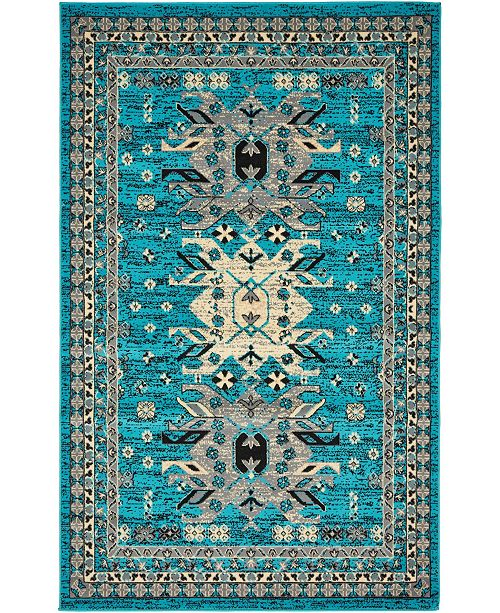 Bridgeport Home Charvi Chr1 Turquoise 5' x 8' Area Rug