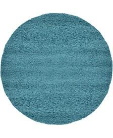 Bridgeport Home Exact Shag Exs1 Deep Aqua Blue 6' x 6' Round Area Rug