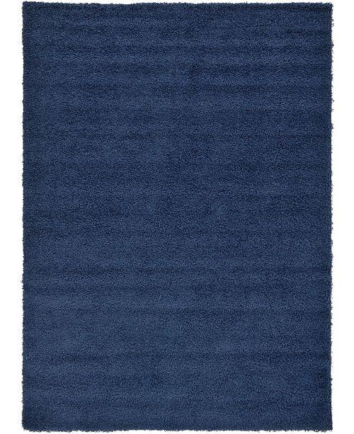 Bridgeport Home Exact Shag Exs1 Navy Blue 7' x 10' Area Rug