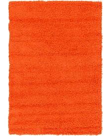 Bridgeport Home Exact Shag Exs1 Tiger Orange 4' x 6' Area Rug