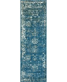 "Basha Bas1 Blue 2' x 6' 7"" Runner Area Rug"