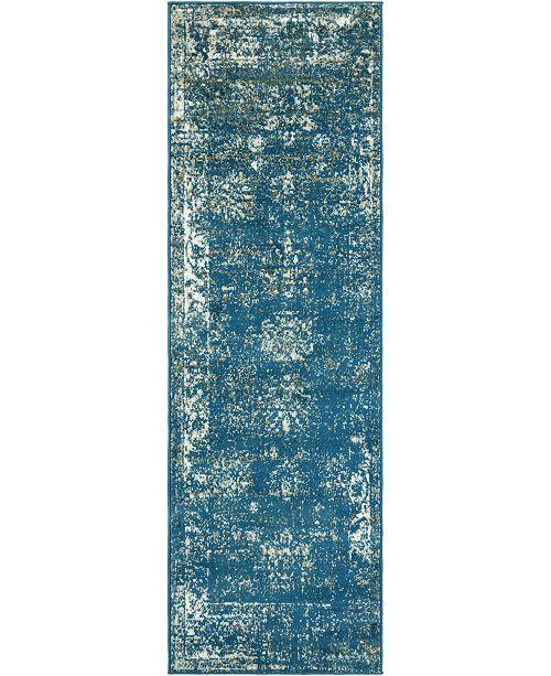 "Bridgeport Home Basha Bas1 Blue 2' x 6' 7"" Runner Area Rug"
