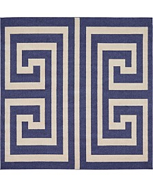 Bridgeport Home Anzu Anz1 Navy Blue 8' x 8' Square Area Rug