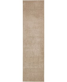 """Salon Solid Shag Sss1 Taupe 2' 7"""" x 10' Runner Area Rug"""