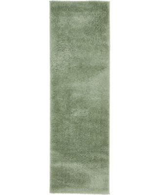 "Salon Solid Shag Sss1 Sage Green 2' x 6' 7"" Runner Area Rug"