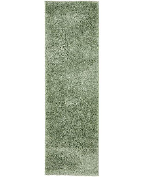 "Bridgeport Home Salon Solid Shag Sss1 Sage Green 2' x 6' 7"" Runner Area Rug"
