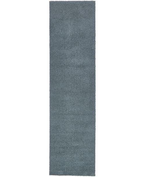 "Bridgeport Home Salon Solid Shag Sss1 Slate Blue 2' 7"" x 10' Runner Area Rug"