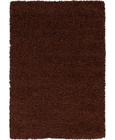 Bridgeport Home Exact Shag Exs1 Chocolate Brown 4' x 6' Area Rug