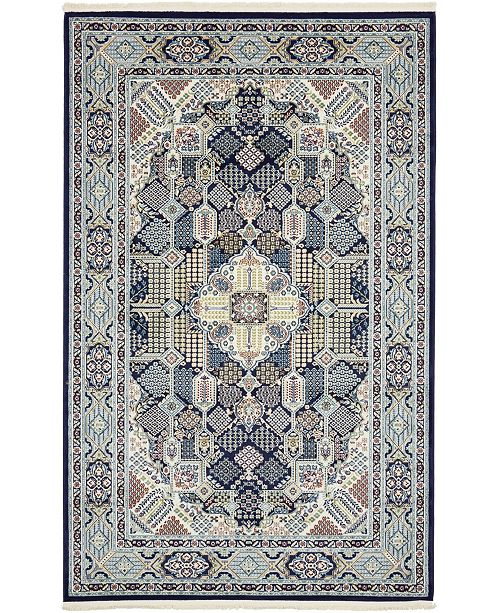 Bridgeport Home Zara Zar4 Navy Blue 5' x 8' Area Rug