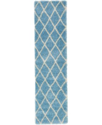 "Latisse Shag Lts1 Light Blue 2' 7"" x 10' Runner Area Rug"