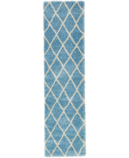 "Bridgeport Home Latisse Shag Lts1 Light Blue 2' 7"" x 10' Runner Area Rug"