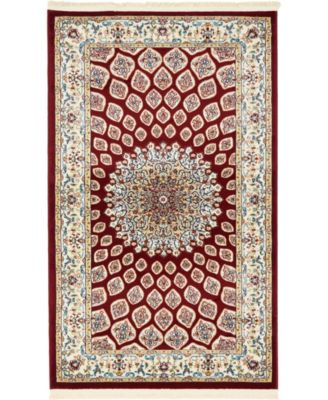 Zara Zar1 Burgundy 3' x 5' Area Rug
