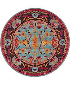 Sana San7 Turquoise 6' x 6' Round Area Rug