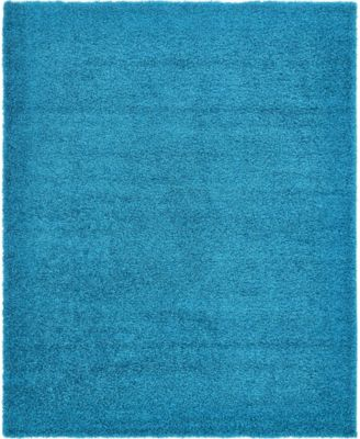 Exact Shag Exs1 Turquoise 8' x 11' Area Rug