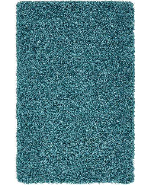"Bridgeport Home Exact Shag Exs1 Deep Aqua Blue 3' 3"" x 5' 3"" Area Rug"